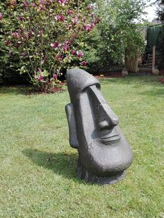 Abstract Sculpture, Sculpture Art, Garden Sculpture, Tiki Head, Concrete Sculpture, Wood Carving Designs, Concrete Crafts, Stone Crafts, Environmental Art