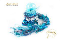Mystic Mermaid Fiber Art Yarn. 32 Yard Novelty Yarn, Ribbon and Art Fiber Bundle. by Panachely on Etsy