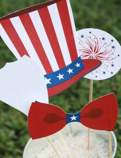 Patriotic 4th of July Printable PHOTO BOOTH PROPS Customizable - printable download pdf. $9.95, via Etsy.