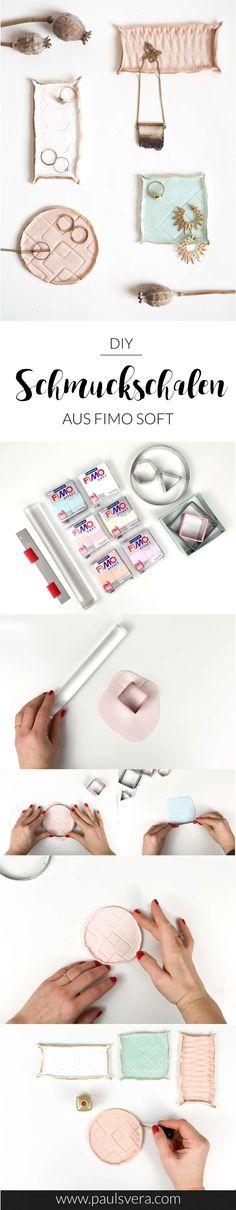 Gestalte ganz außergewöhnliche Schmuckschalen mit geometrischen Formen aus FIMO Soft! Die ganze Anleitung für die DIY Geschenkidee findest du auf paulsvera.