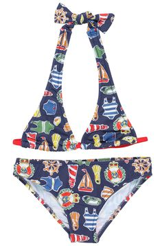nautical print on blue bikini Kids Swimwear, One Piece Swimwear, Blue Bikini, Bikini Girls, Kids Bathing Suits, Boys Swim Trunks, Luxury Swimwear, Nautical, Bikinis