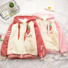 J-fashion 2 colors lolita kawaii strawberry embroidery casual coat jacket lk17112112