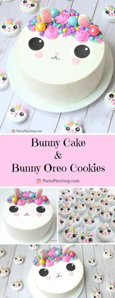 bunny oreo cookies, cute Easter bunny cookies with flower crown, fun easy to make bunny cookies, kawaii bunny animal oreos for kids Easter Cake Easy, Easter Bunny Cake, Easter Cupcakes, Fun Cookies, Oreo Cookies, Cake Decorating With Fondant, Rabbit Cake, Oreo Cake, Cupcake Cakes