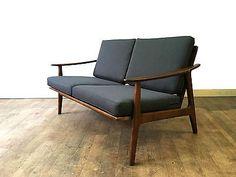 Retro Danish Two Seater Sofa Vintage Mid Century Modern 2 Seater Loveseat