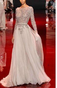A-line/Princess Høy Hals Langt Erme Applique Floor-length Chiffon Dress