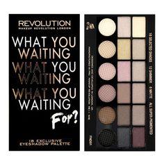 MAKEUP REVOLUTION What you waiting for? - paleta 18 cieni składająca się z 11 cieni do powiek połyskujących i 7 cieni matowych. Cienie w tonacjach beżowych, brązowych i szarych.