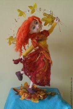 "*NEEDLE FELTED ART ~ Collectible handmade dolls.  Fair Masters - handmade Dolls ""Dance of leaf fall.""  Handmade."
