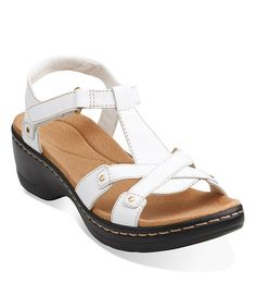 7414c7112002a Clarks White Hayla Flute Leather Sandal