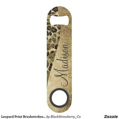 Leopard Print Brushstrokes & Faux Glitter Monogram Speed Bottle Opener