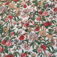 Waverly Yarmouth Floral Flower Fabric F Schumacher Vtg 49x109 3 Yrd Scotchguard #Waverly