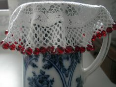 JUG COVER - Crochet beaded doily - red crystal cut glass beads 8mm - Christmas Doilies Crochet, Beaded Crochet, Lace Doilies, Knit Crochet, Milk Jug, Cut Glass, Vintage Inspired, Blankets, Glass Beads