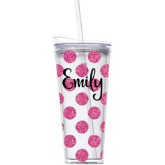 Personalized Pink Glitter Cup Monogram Name Tumbler Polka Dot Travel... ($18) ❤ liked on Polyvore featuring drink & barware, home & living, kitchen & dining and silver