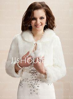 Wraps - $29.99 - Long Sleeve Faux Fur Wedding Wrap (013020422) http://jjshouse.com/Long-Sleeve-Faux-Fur-Wedding-Wrap-013020422-g20422