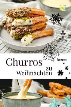 Churros sind ein schneller Snack zu, vor, oder nach Weihnachten. Mit diesem Rezept ganz einfach selbst gemacht- mit Dip! #churros #churro #christmasrecipe