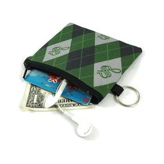 Slytherin Coin Purse, Harry Potter Mini Zipper Pouch, Coin Pouch, ID... ($10) ❤ liked on Polyvore featuring bags, wallets, white bag, card slot wallet, zip pouch bags, white wallet and zipper pouch bag