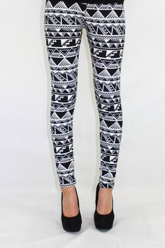 The Pound the Alarm Aztec print black and white leggings $20.00 Available at The Laguna Room www.thelagunaroom.com