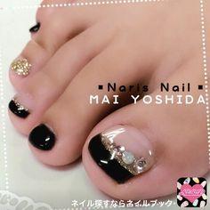 ネイル 画像 【Naris Nail 】MAI YOSHIDA 603306 ブラック フレンチ ソフトジェル フット