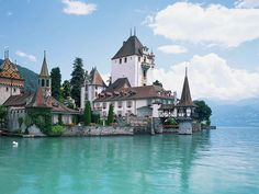 Switzerland Travel and Tourist Attractions Wallpapers - Switzerland Travel - Oberhofen Castle on Lake Thun, Oberhofen Castle Beautiful Castles, Beautiful Places, Beautiful Beach, Beautiful Scenery, Amazing Places, Oh The Places You'll Go, Places To Travel, Switzerland Wallpaper, Lake Thun