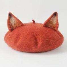 Cat Ear Beret, Mode Kawaii, Fox Ears, Wool Berets, Animal Hats, Ear Hats, Cute Fox, Cute Hats, Kawaii Clothes