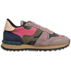 Valentino Garavani Camoflague sneakers ($795) ❤ liked on Polyvore featuring shoes, sneakers, pink, pink shoes, valentino sneakers, camouflage shoes, camouflage footwear and pink sneakers