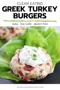 These Greek Turkey Burgers are a favorite recipe in our house - they're easy, healthy, and super delicious! Just make the patties, cook them up quickly in a pan, put a dollop of tzatziki sauce, and wrap in lettuce. So simple and so good! (Gluten Free   Low Carb) Healthy Gluten Free Recipes, Healthy Dinner Recipes, Vegetarian Recipes, Greek Turkey Burgers, Clean And Delicious, Tzatziki Sauce, Lettuce, Food Print, Clean Eating