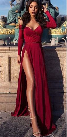 Long Sleeves V Neck Red Side Split Sexy Prom Dresses 6a76e8badb5b