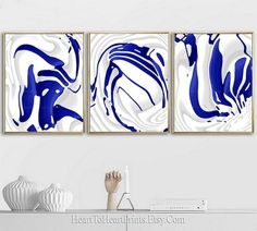 Blue Abstract Painting Set of 3 Prints Minimalist Blue Wall | Etsy