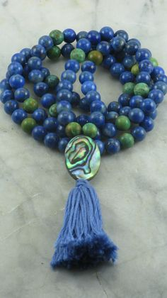 Shanti Mala - Lapis, Turquoise, and Paua Shell - 108 Mala Beads, Buddhist Prayer Beads, Meditation, Truth