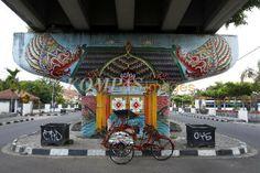 Mural Bertema Pewayangan Terlihat Di Bawah Kolong Jembatan Layang Lempuyangan Yogyakarta Minggu