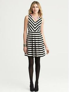 Black-and-White Striped Dress- Banana Republic Dress up or down. Heels, booties, flats, Sweater or jacket.