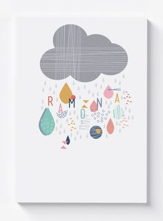 A stunning personalised nursery giclee print of a little rain cloud.  This little grey cloud rains a gorgeous shower of beautifully coloured
