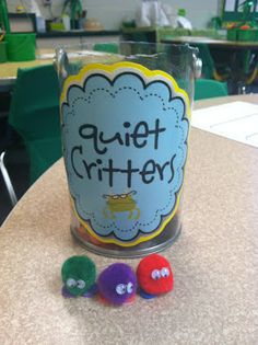 """Basically, you make the quiet critters with a pom-pom, heart-shaped foam piece (for the feet) and mini wiggle eyes. I tell my students that my """"quiet critters"""" need a friend to take care of them, but they only can survive/like QUIET friends. GUESS WHAT? Instantly quiet class. The kids love them. My kids have named their quiet critters and made homes for them."""