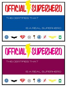 Free printables from the superhero party!         Signs for the superhero themed games we played!            Lastly, I made these certificat...