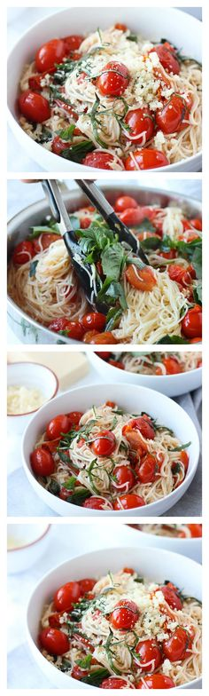 Light and delicious! -> 20 Minute Cherry Tomato and Basil Angel Hair Pasta Light and delicious! -> 20 Minute Cherry Tomato and Basil Angel Hair Pasta I Love Food, Good Food, Yummy Food, Tasty, Vegetarian Recipes, Cooking Recipes, Healthy Recipes, Simple Pasta Recipes, Fresh Basil Recipes