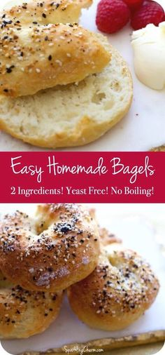 ) This is a super easy 2 ingredient bagel recipe! Yeast Free Recipes, Yeast Free Breads, No Yeast Bread, Easy Recipes, Yeast Free Doughnut Recipe, Fat Free Bread Recipe, No Yeast Bagel Recipe, Oven Recipes, Dinner Recipes