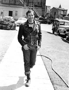 theniftyfifties:  Marlon Brando during the filming of 'The Wild One', 1953. Photo by Phil Stern.