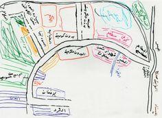 La carte réalisée par Momo montre l'organisation des groupes de solidarité selon la nationalité. Dans la Jungle de Calais