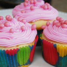 A very yummy recipe for cupcakes with pink frosting.. Cupcakes With Pink Frosting Recipe from Grandmothers Kitchen.