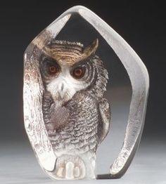 Mats Jonasson Etched Crystal Owl MJ 33863
