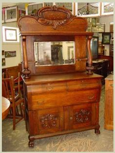 Antique Solid 1/4 Sawn Tiger Oak This is my kind of furniture... Real Wood and Craftsmanship...Hall Mirror Back Sideboard. $949.00 on GoAntiques. Circa 1900 #antique #furniture