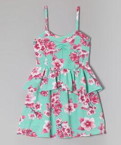 Another great find on #zulily! Jade & Fuchsia Floral Peplum Dress - Toddler & Girls #zulilyfinds