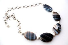 Black and White Agate Necklace  Striped Agate by BigSkiesJewellery