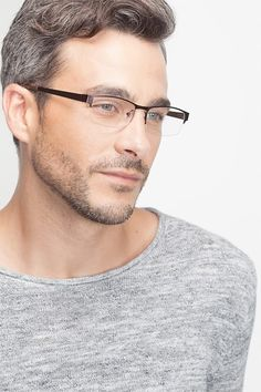 Coffee rectangle eyeglasses available in variety of colors to match any outfit. These stylish semi-rimless, large sized metal eyeglasses include free single-vision prescription lenses, a case and a cleaning cloth. Eyeglass Frames For Men, Rimless Frames, Fashion Eye Glasses, Male Eyes, Vintage Closet, Mens Glasses, Glasses Frames, Prescription Lenses, Eyeglasses