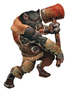 Wereboar! Boar lycanthropy! Woot! I like his vest and other clothing. Looks so warm and comfy!