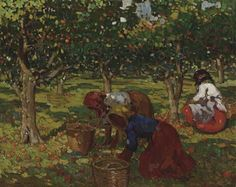 "'The Orange Harvest' by Alberto Pla Y Rubio (1867 - 1937). 'Glass Pieces''s third movement is dominated by folk motifs which choreographer Robbins characterized as resembling the harvest. ""He would say things like, 'Gather the apples and oranges.' The women should look like they're gathering and harvesting, ""says SFB Ballet Master Betsy Erickson."