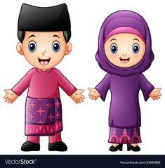 Cartoon Brunei Couple Wearing Traditional Costumes Stock Vector - Illustration of greeting, fashion: 108011257 Brunei, Couple Goals, Classroom Calendar, Eid Crafts, Islamic Cartoon, Islam For Kids, Muslim Family, Anime Muslim, Couple Cartoon