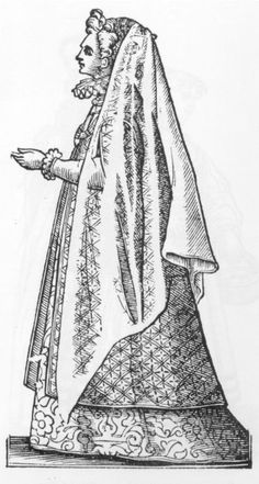 Cesare Vecellio, 1585-90, Reproduced by Dover Books as Vecellio's Renaissance Costume Book Current dress of Paduan noblewomen