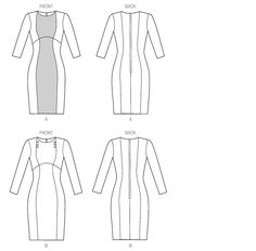 Line Art | Vogue V9017 | Sewing Pattern | Misses' Dress | Very Easy Vogue | (ABCD) | Stretch Fabric | [Size 6-8-10-12-14]