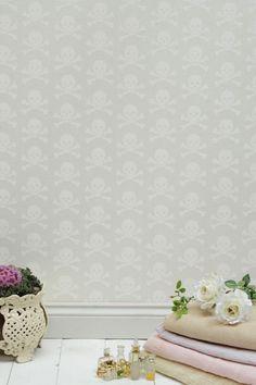 Beware the Moon white on white skull wallpaper