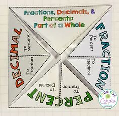 Try this fun, free, fold it up to help your middle school math students with their fraction, decimal, percent conversions. Great for their interactive notebooks! Sixth Grade Math, Fourth Grade Math, Math Fractions, Teaching Decimals, Teaching Math, Free Math, Free Fun, Math Tutor, Homeschool Math